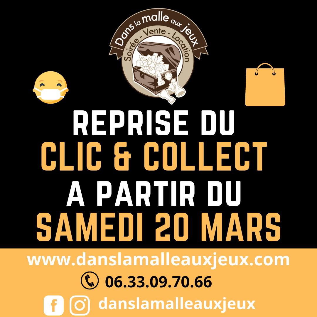 clic and collect à partir du samedi 20 mars 2021